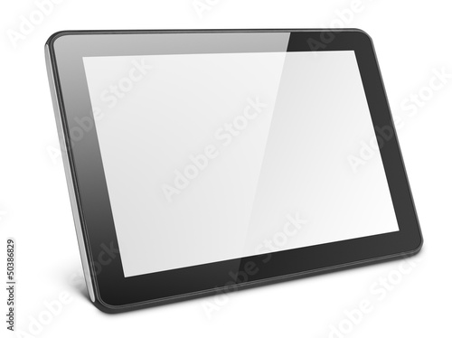 Leinwanddruck Bild Modern black tablet pc isolated on white with clipping path