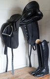 Saddle and riding boots