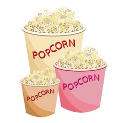 Fresh Popcorn in Three Size of Paper Bowl