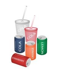 Set of Refreshing Soda Drinks in Various Packaging