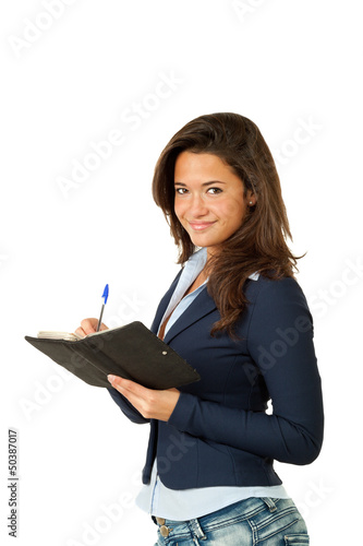 portrait of young employee, isolated on white