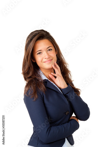 portrait of cute woman, isolated on white background