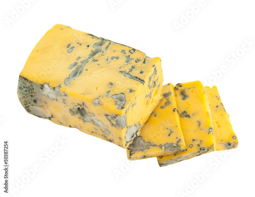 yellow dor blue cheese isolated on white background