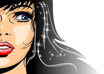 Illustration of brunette woman