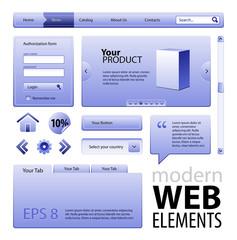 Blue Modern Website Design Elements