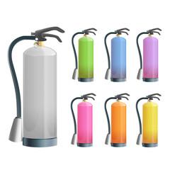 Set of extinguisher isolated on white.