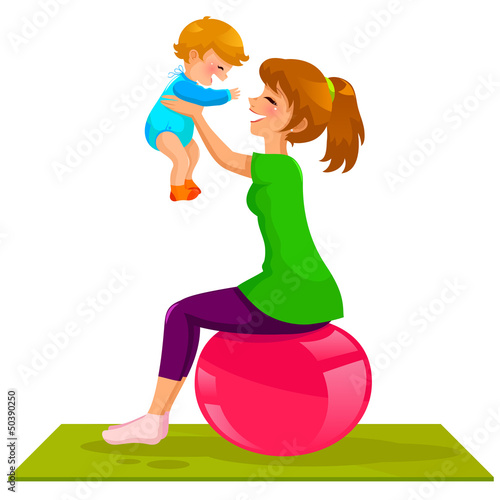 mother and baby playing on gymnastic ball