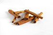 Cinnamon bark stick heap isolated on white