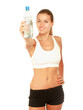Woman in sportswear with bottle of water, isolated on white