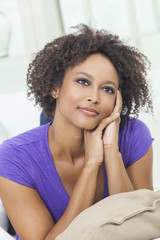 Thoughtful Happy Mixed Race African American Girl