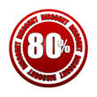 80 percentages discount 3d red circle label