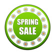 spring sale green circle label with flowers
