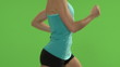 Woman running on treadmill. Green screen, close up of torso