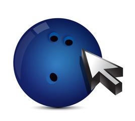 Bowling ball with cursor arrow - sport shopping
