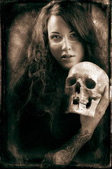Woman with a pale face and skull..