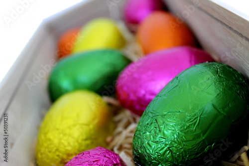 Easter Eggs in Wood Box 2