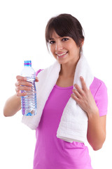 Young caucasian woman holding a bottle of water