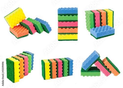 collection sponges for cleaning, isolated on white background