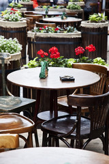 Vintage table and chairs in a street cafe