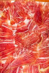 plate of Spanish jamon iberico sliced (ham)