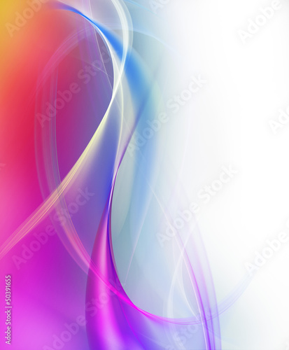 Abstract elegant violet and blue waves on white background