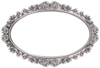 Cadre baroque ovale argenté