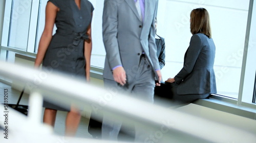 Caucasian Female Business People Airport Meeting