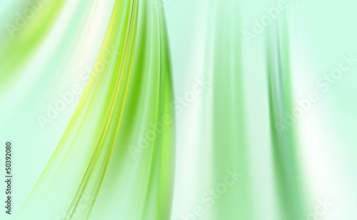 Awesome abstract green waves on light blue background