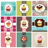 Set of cupcake cards template