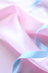 ribbon on pink silk for background image