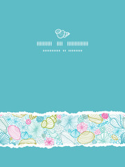 Vector seashells line art vertical torn seamless pattern