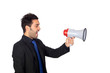 Young businessman with a Megaphone proclaiming something