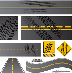 Asphalt road vector with tire tracks eps 10 transparency effects