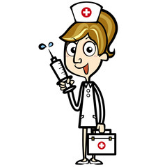 Cartoon Nurse with First Aid Kit and Syringe