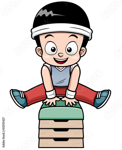 Vector Illustration of a Boy jumping gymnastic buck