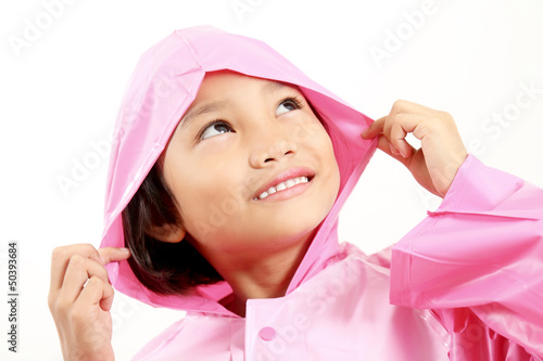 Girl In Pink Raincoat