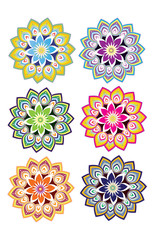 Flower pattern design with different color set