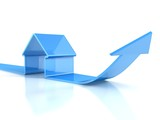 glossy blue house icon with rising arrow. real estate concept