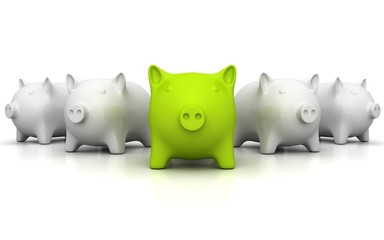 Large group of white piggy banks with one green leader