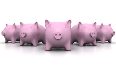 group of pink piggy money banks