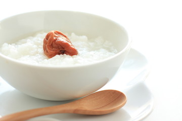 japanese cuisine, healthy breakfast rice porridge and plum