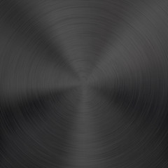 Black Metal Background with Circular Brushed Texture