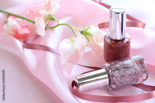 nail color on pink silk for manicure image