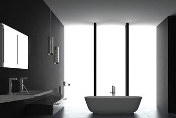 Interior of Luxurious Black Design Bath Room