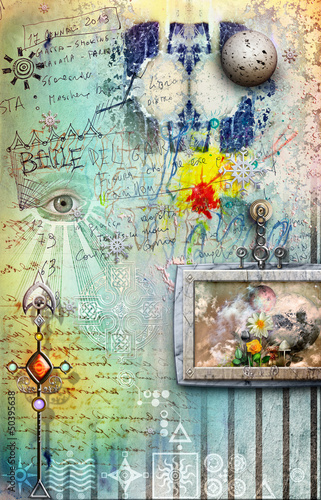 Street art background and fantasy landscape in frame