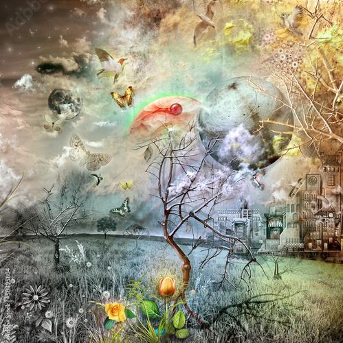 Fototapeten,gothic,regenbogen,wald,himeji