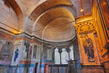 Mosaic interior in Chora church at Istanbul Turkey