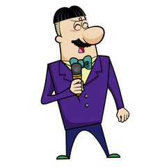 Cartoon Host Emcee with Microphone
