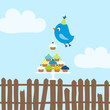 Flying Blue Bird 10 Cupcakes Fence Sky