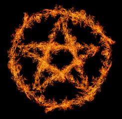 orange flame pentagram isolated on black